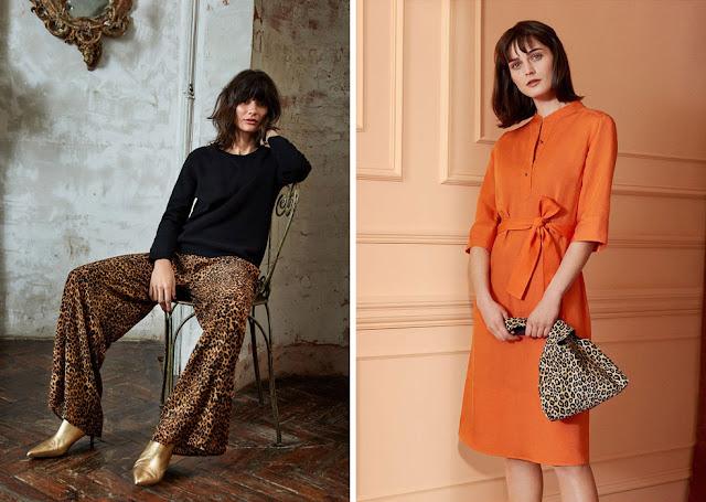 Леопардовые брюки и оранжевое платье с леопардовой сумкой