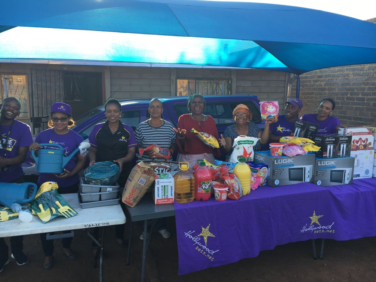The staff at Phuthadijhaba old age centre with some essential household items donated to them by Hollywoodbets Three Rivers