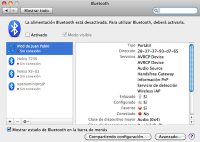 Preferencias del sistema: Bluetooth