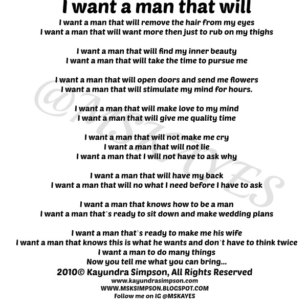 I want a man who will