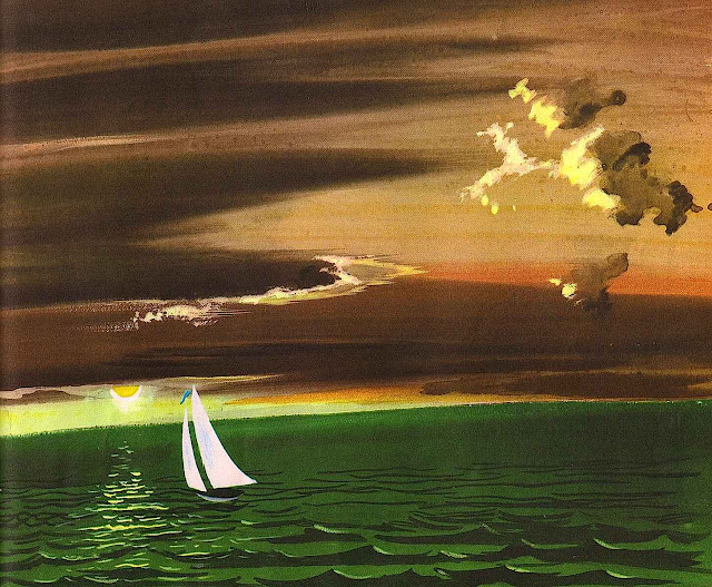 Leonard Weisgard illustration of sailboat at sunset