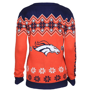 Denver Broncos Women's Official NFL Cardigan Sweater-Backside