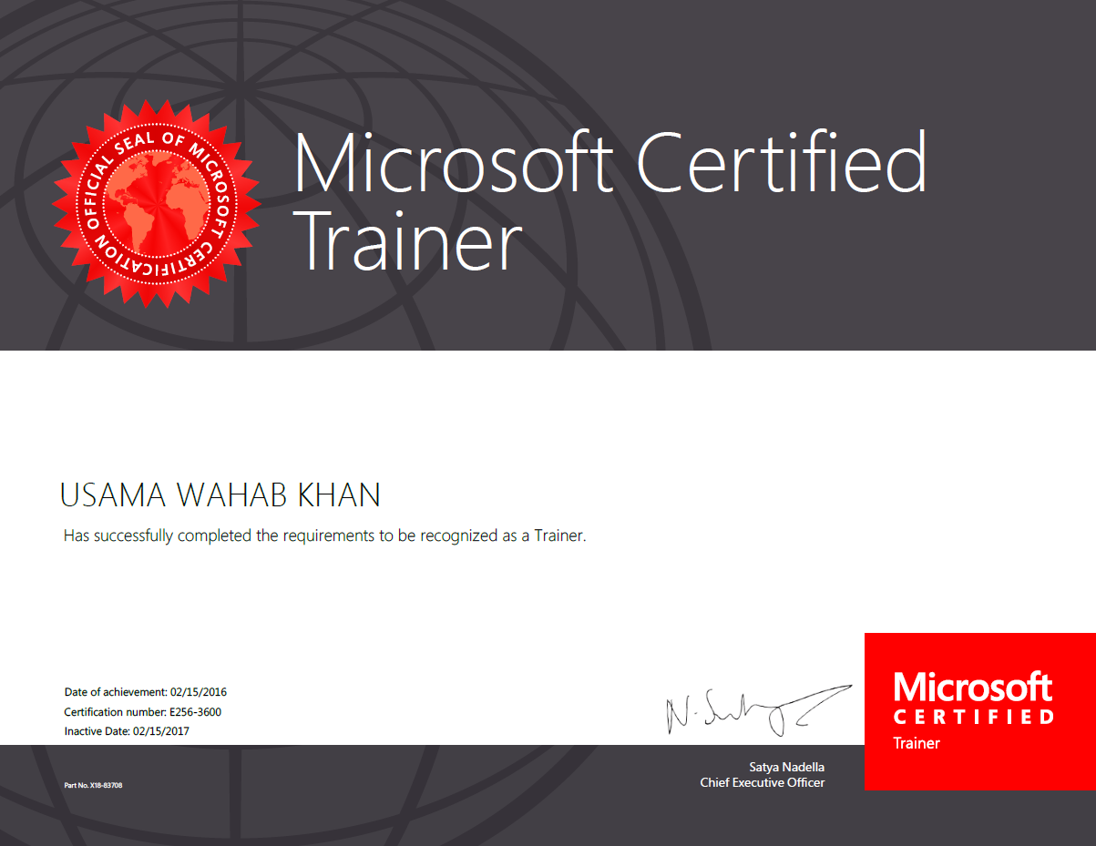 Usama wahab khan renewed microsoft certified trainer mct i become again microsoft certified trainer mct for 2016 i am mct from since 2012 its been wonderful experenice to be a part of mct community 1betcityfo Choice Image