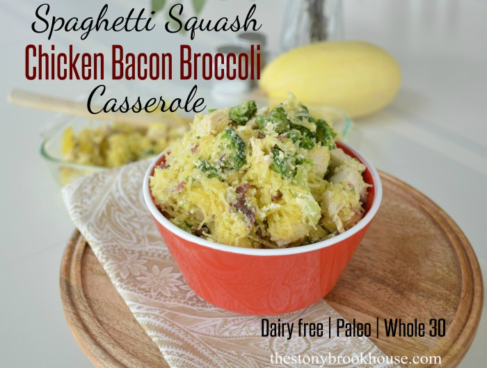 Spaghetti Squash Chicken Bacon Broccoli Casserole