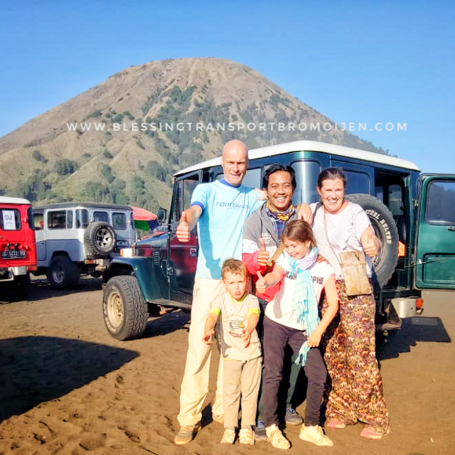 Ms.Evelien's family (BE) with Aziz as the driver, Surabaya to Bromo 2D1N tour. Jul 17-18, 2018.