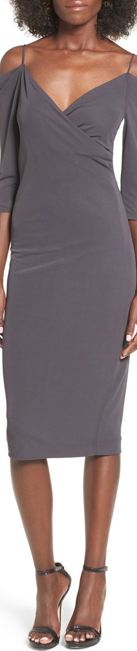 ST. studio Cold Shoulder Midi Dress shown in Intense Grey