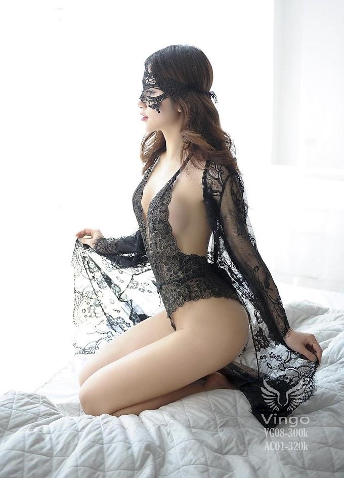 Bodysuit kèm áo choàng ren
