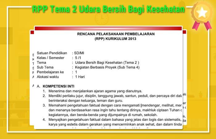 RPP Tema 2 Udara Bersih Bagi Kesehatan