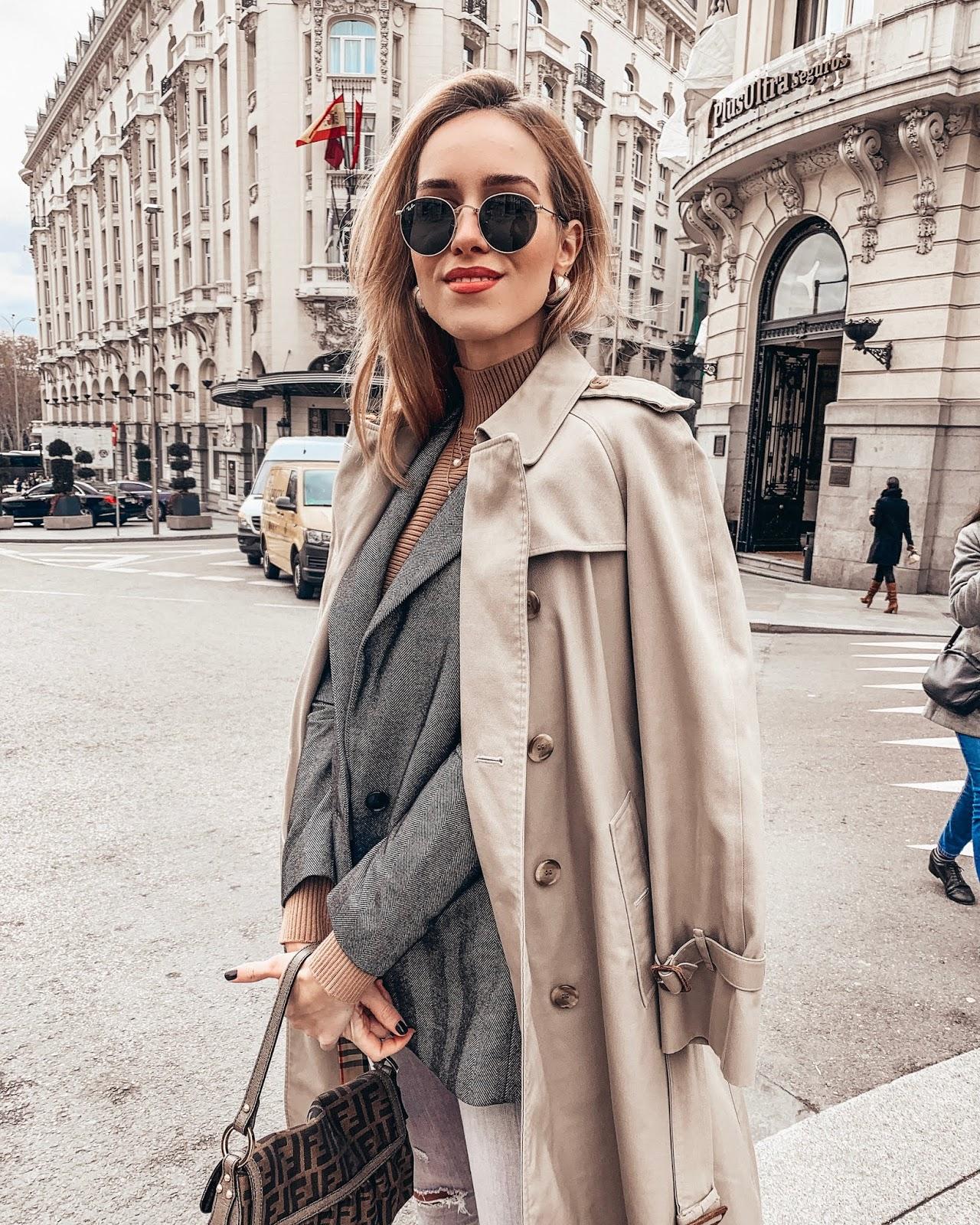 beige trench grey blazer spring outfit