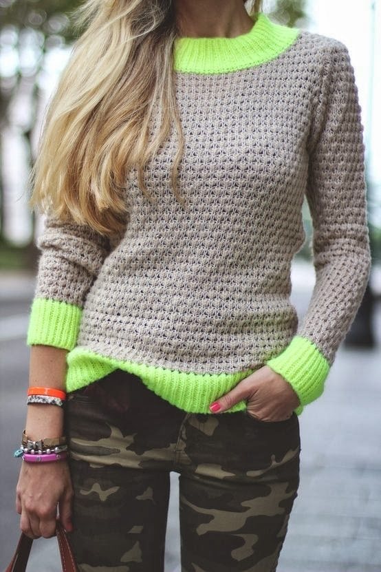 Women's Fashion Neon Pop Sweater + Army Green