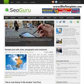 SEO Guru blog template. template image slider blog. magazine blogger template style. wordpress theme to blogger