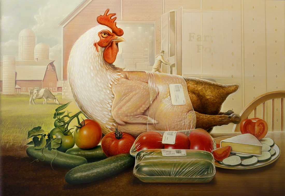 03-Chicken-From-Farm-to-Table-Tim-O-Brien-Conceptual-Paintings-that-use-Art-to-Express-an-Idea-www-designstack-co
