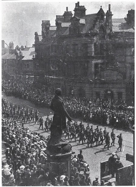 Fusiliers march to the parish church, Gallipoli Sunday, Bury, 23 April 1923.