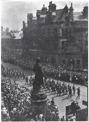 Fusiliers march to the parish church, Gallipoli Sunday, Bury, 23 April 1923.