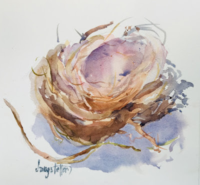 "Bird, Bird Nest, Impressionism Nature Painting, ""CHERISHED X"" by Georgia Artist Deanna Jaugstetter"