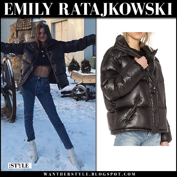Emily Ratajkowski in black puffer lpa jacket, jeans and white boots gianvito rossi robin model winter fashion january 17
