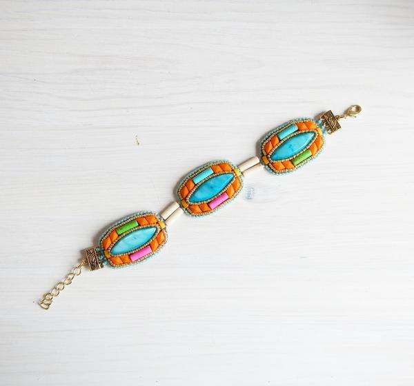 Haft koralikowy bransoletka z masą perłową