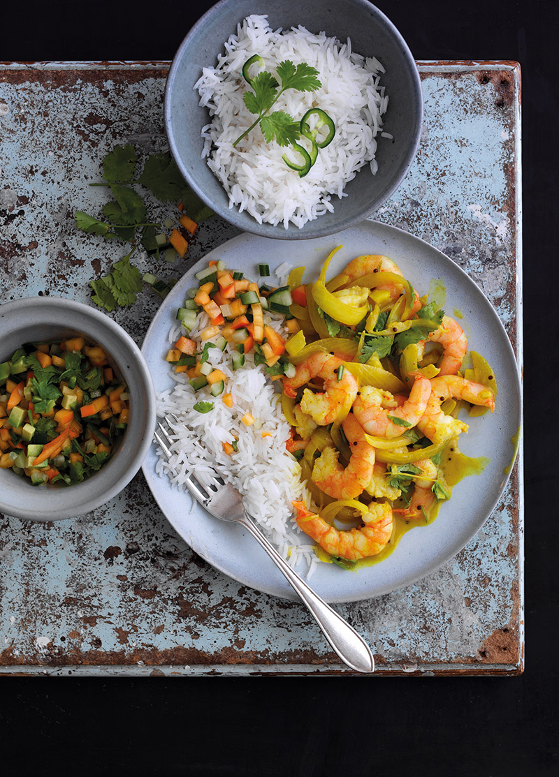 King Prawn Curry With Spanish Persimon Kachumber