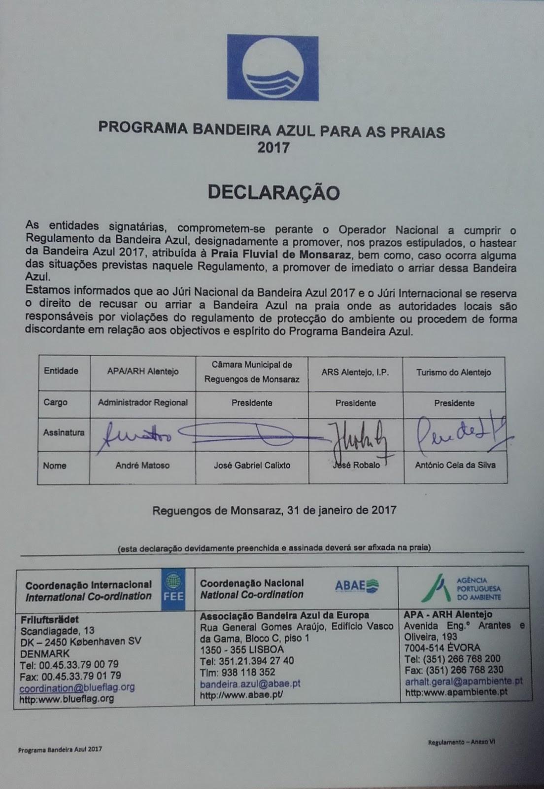 programa de bandeira azul -declaração de conformidade para a Praia fluvial de Monsaraz