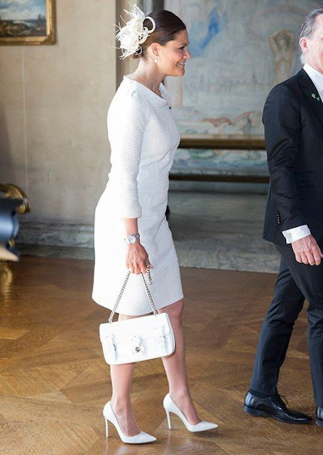 Crown Princess Victoria wore Suzannah Kaleidoscope Neat Brocade dress