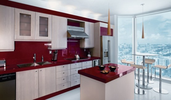 Decorating with Red Kitchen and Dining Room Backsplash Island