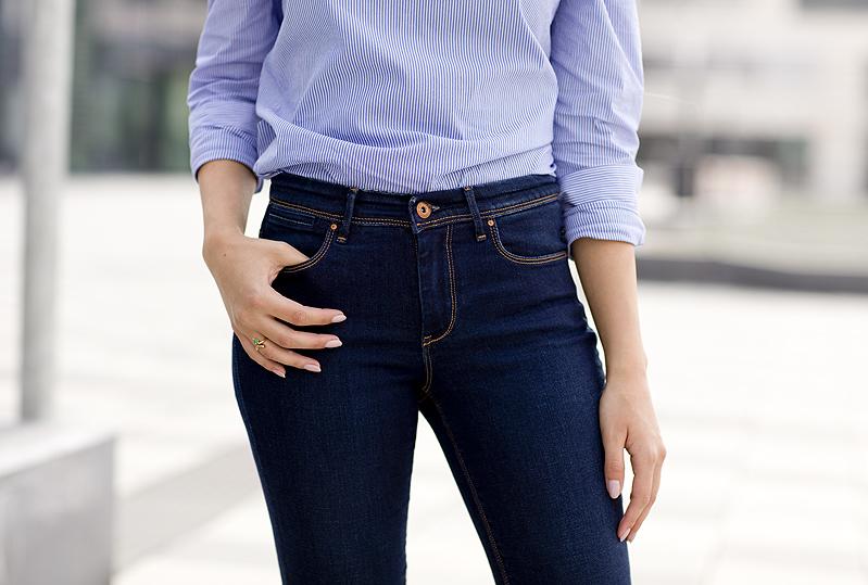 Zara Blue Stripes Off Shoulder Top Flare Jeans Denim