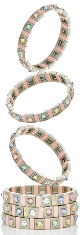 Roxanne Assoulin Set Of Three Enamel, Swarovski Crystal And Gold-Tone Bracelets