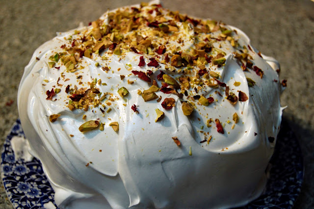 Cardamom, Coconut, Pistachio and Rose Cake