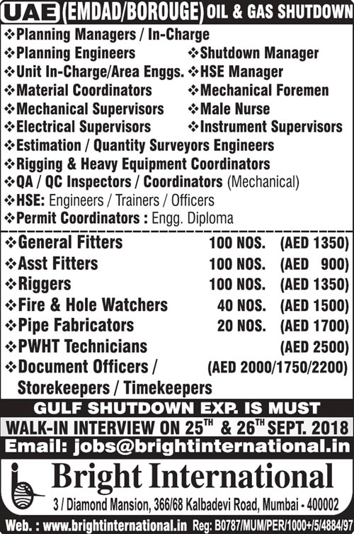 UAE Jobs, Oil & Gas Jobs, Shutdown Jobs, Planning Engineer, Electrical Supervisor, Mechanical Supervisor, HSE Jobs, Permit Coordinator, Bright International, PWHT Jobs, QA/QC Jobs, Male Nurse,