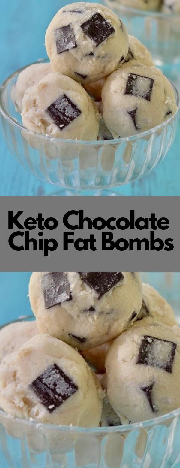 Keto Chocolate Chip Fat Bombs #dessert #ketogenic #paleo #snack #lowcarb #sugarfree