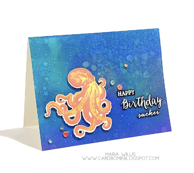 #cardbomb, #maria willis, #heroarts, Color Layering Octopus, #distressoxideinks, ranger ink, Tim Holtz, distress resist spray, cards, stamps, ink, paper, paper craft, craft, creative, handmade, diy, color, ocean, happy birthday