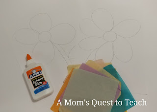 glue, tissue paper, kids crafts