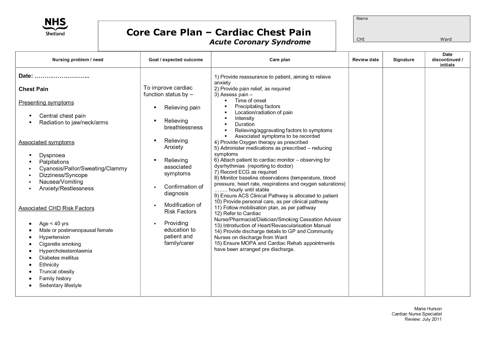 Care Plan For Pain