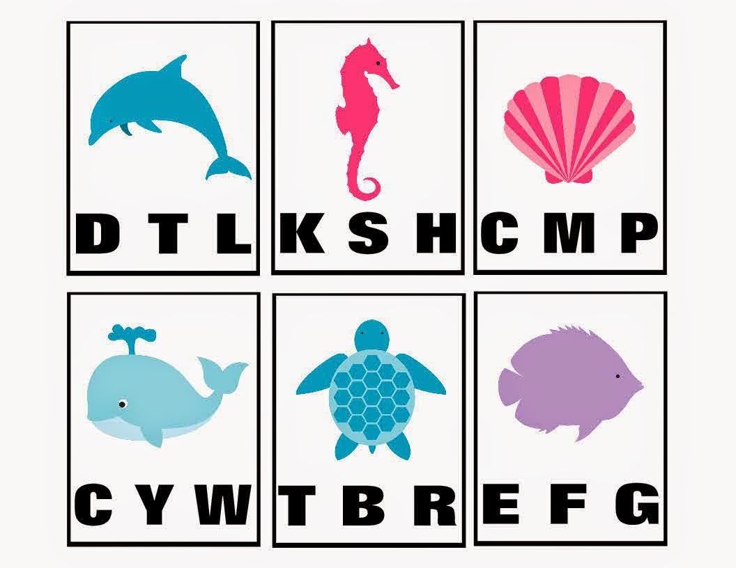 Ocean Animals Beginning Sounds Clip Cards Printable