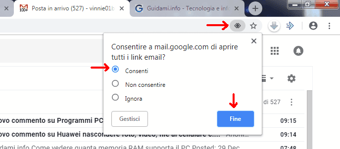 Gmail popup consentire aprire i link email