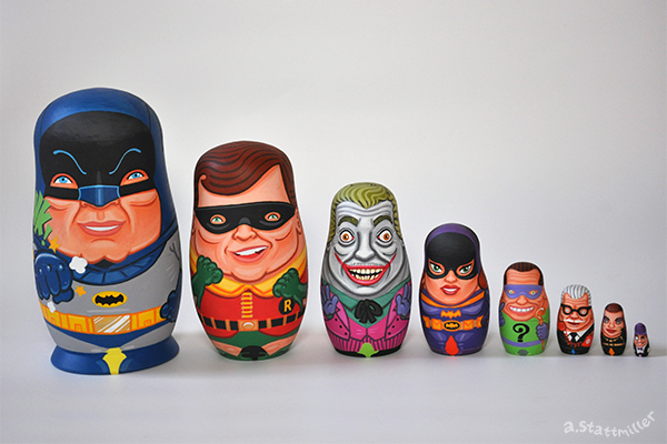 Green Pear Diaries, ilustraciones, matrioskas, Andy Stattmiller, Matryoshka Mania, Batman