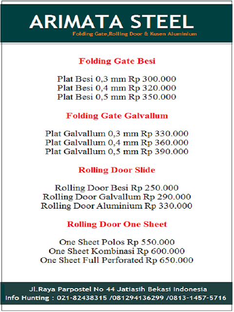 harga folding gate depok Rp per meter