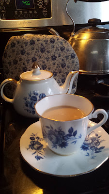 Lovely Blue and White Teapot and teacup, Living from Glory To Glory Blog