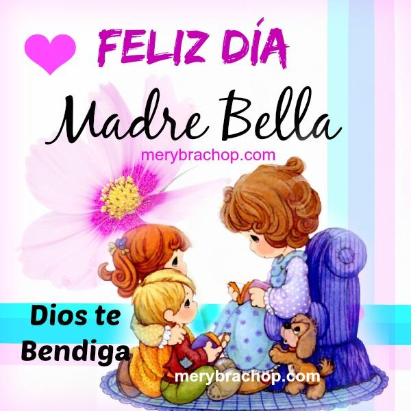 frases para madre cristiana dia de la madre Dios bendiga, mensaje con imagen cristiana para mama