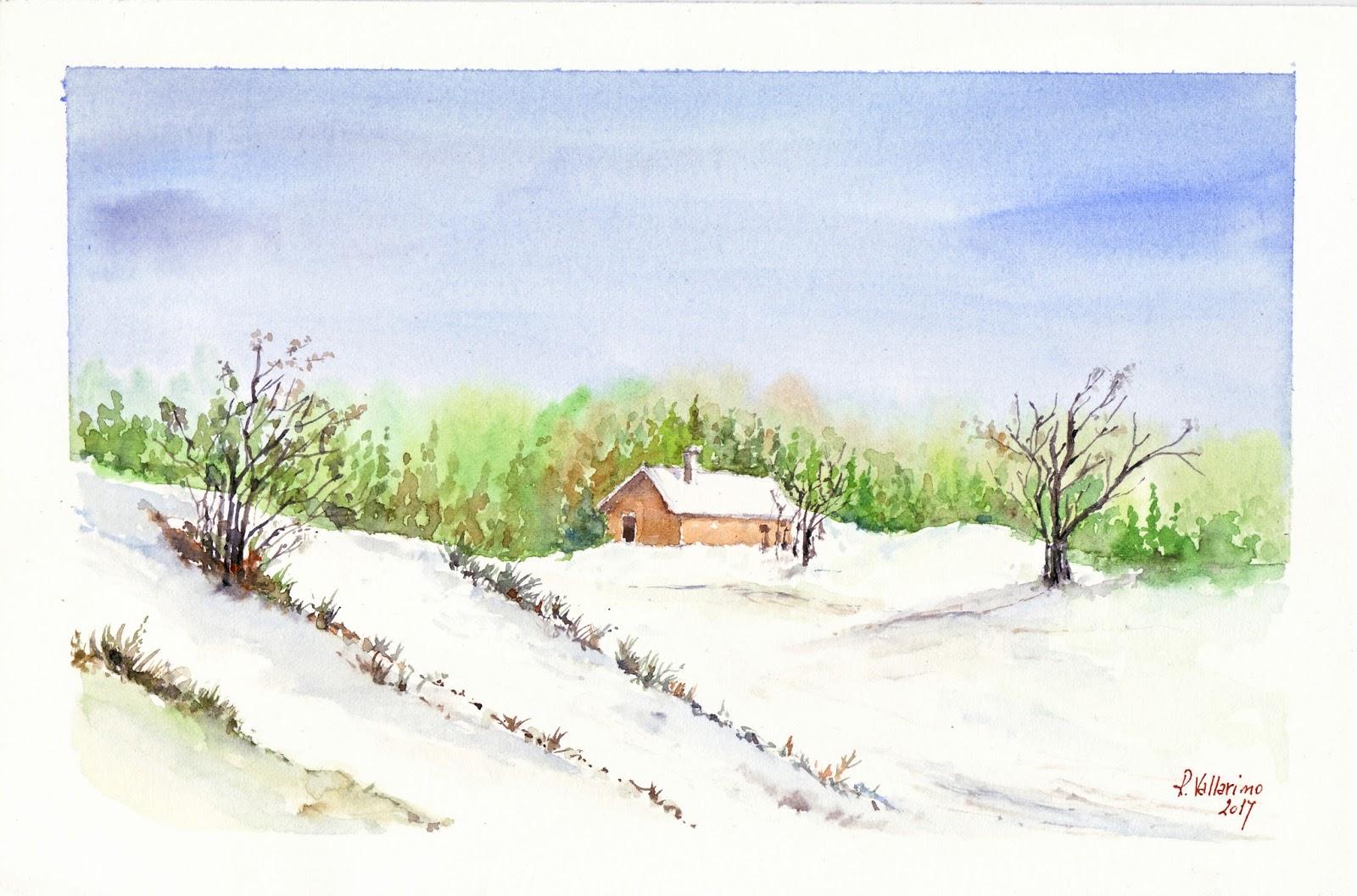 Acquerelliamo insieme corso acquerello paesaggio invernale for Disegno paesaggio invernale