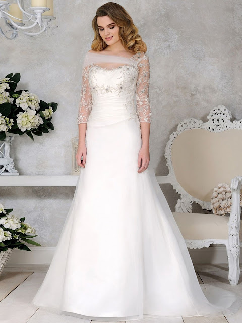 A-line Satin Tulle with Beading Off-the-shoulder 3/4 Sleeve Wedding Dresses