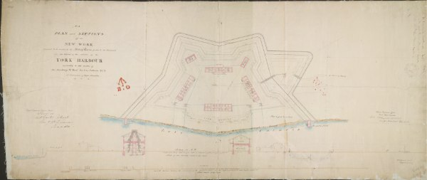 (Dec.) 1833 Nicolls/Bonnycastle: No. 3. Plan and Sections of the New Work proposed to be erected on the Military Reserve farther to the westward for the defence of the entrance of the York Harbour