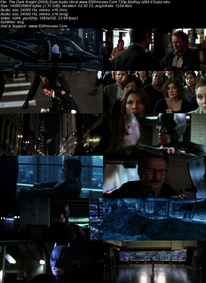 The Dark Knight (2008) Dual Audio Hindi 720p BluRay x264 1.3GB ESubs Movie Download