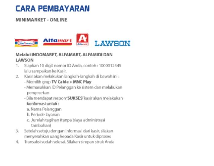 Cara Bayar Tagihan MNC Play Di Indomaret Alfamart Alfamidi Lawson