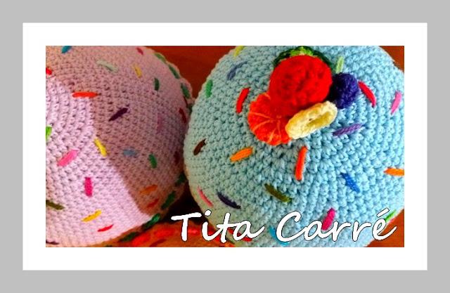 Minhas almofadas Cupcakes em crochet