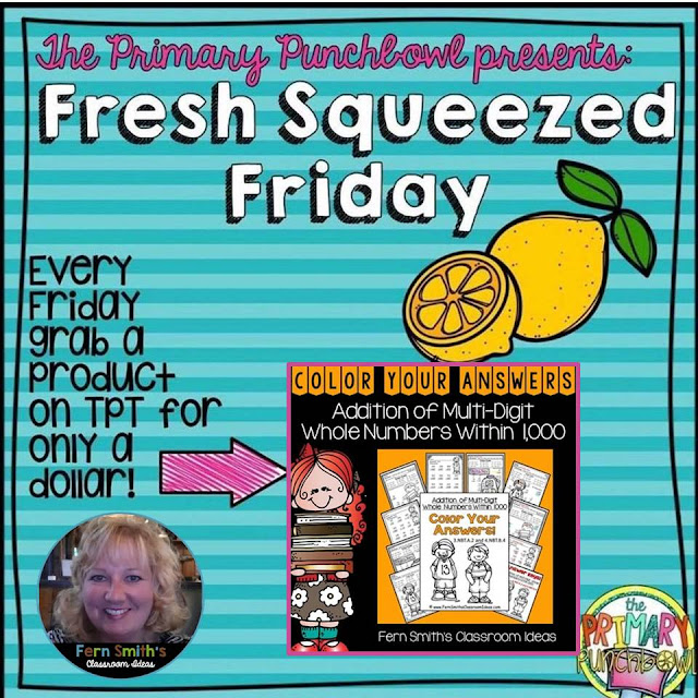 One of my Best Sellers, Today you can try it for $1.00! Color Your Answers Printables - Addition of Multi-Digit Whole Numbers Within 1000 Color By Number Printables. I'm joining my friends at the Primary Punchbowl for fresh squeezed Friday. Visit TpT, using the tag #freshsqueezedfriday to see all the $1.00 deals today!