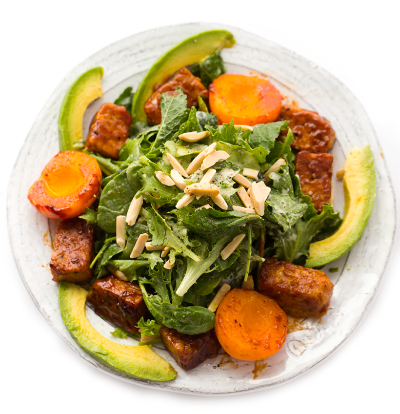 Sticky Sweet Apricot BBQ Tempeh Sunshine Salad with Avocado and Toasted Almonds
