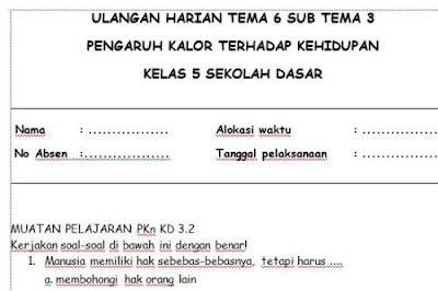 Soal Ulangan Harian Kelas 5 SD Tema 6 Subtema 3
