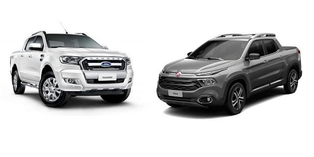 Nova Ford Ranger x Fiat Toro