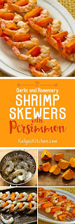 Garlic and Rosemary Roasted Shrimp Skewers with Fuyu Persimmon found on KalynsKitchen.com